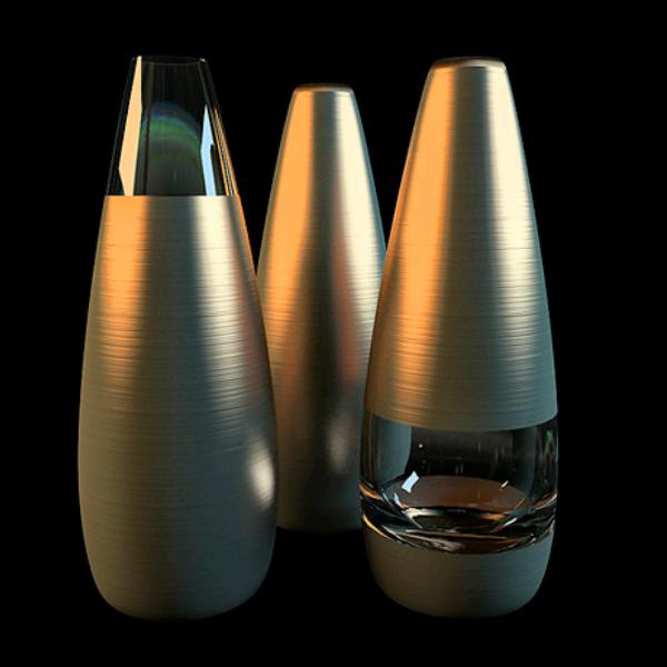 modern brass glass vase sets 3d model 3dsmax files free. Black Bedroom Furniture Sets. Home Design Ideas