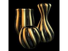 Striped vase sets 3d model