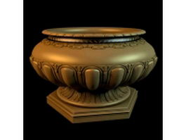 Antique gold garden vase 3d model