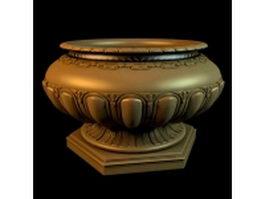 Antique gold garden vase 3d model
