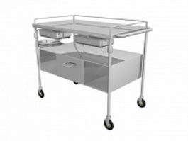 Hospital stainless steel Lab cart 3d model