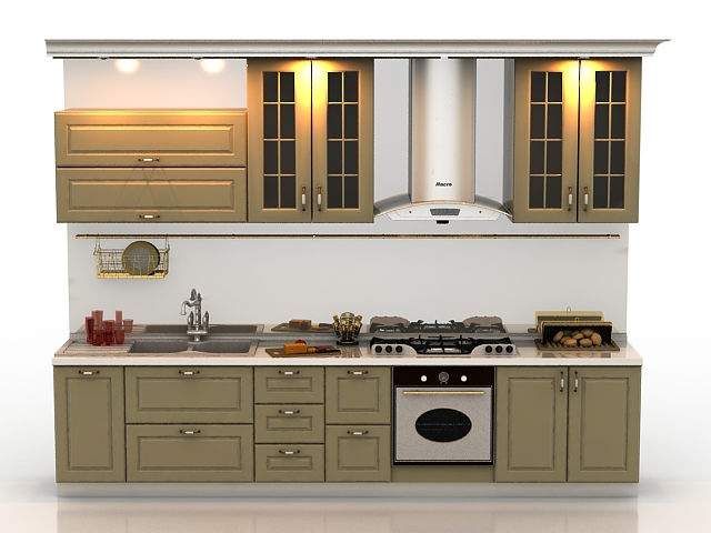 Highly Detailed Model Of Single File Kitchen Design, Consist Of Kitchen  Wall Cabinet, Sink, Cooking Stove, Range Hood And Other Kitchen Utensils.