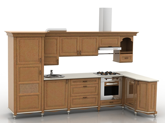 Modern Kitchen Set 3d Model 3d Studio 3ds Max Files Free Download