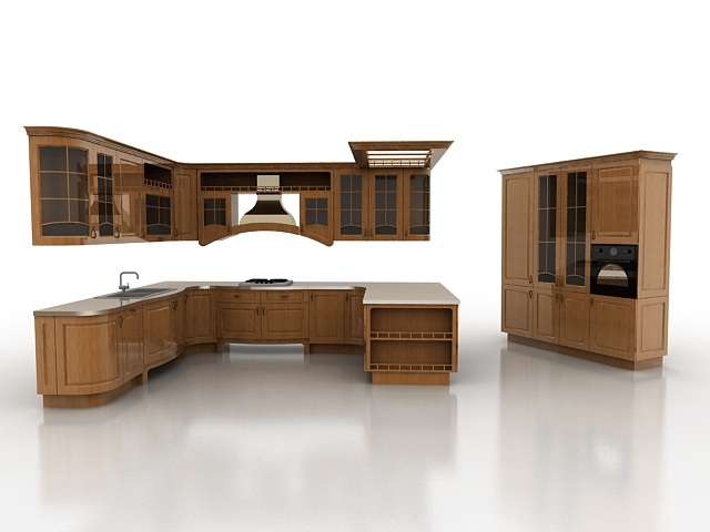 Open kitchen concept design 3d model 3ds max files free for Kitchen cabinets models
