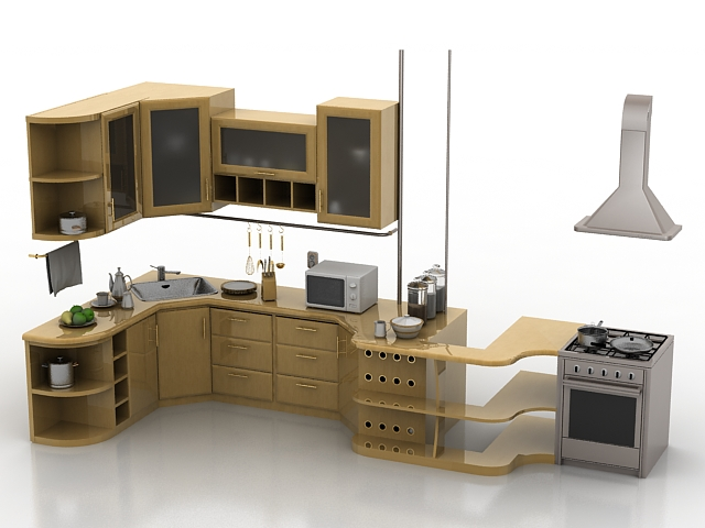 Apartment corner kitchen design 3d model 3ds max files for Kitchen furniture 3ds max free