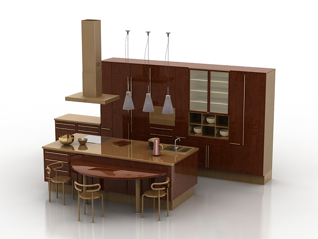 Open Kitchen With Counter 3d Model 3ds Max Files Free Download