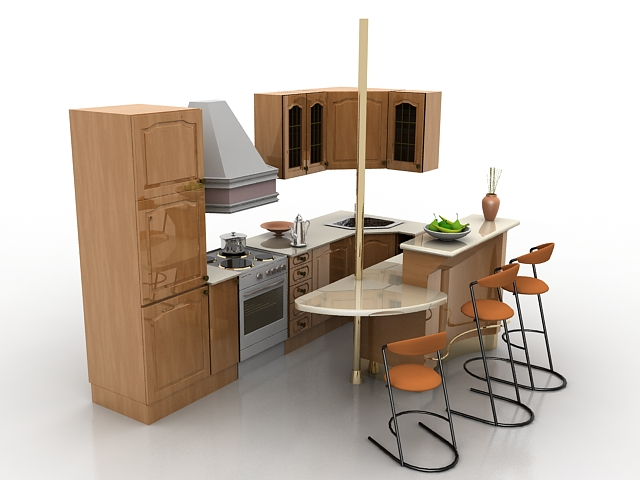 Small kitchen with bar counter 3d model 3d studio 3ds max for Food bar 3d model