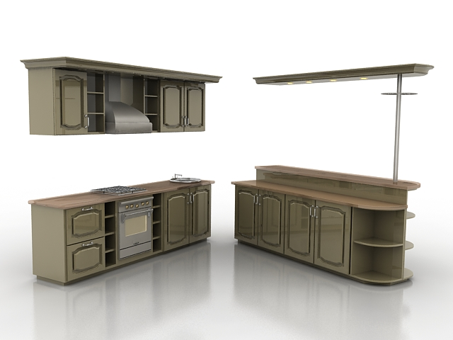 L Kitchen With Counter 3d Model 3ds Max Files Free Download Modeling 19562 On Cadnav