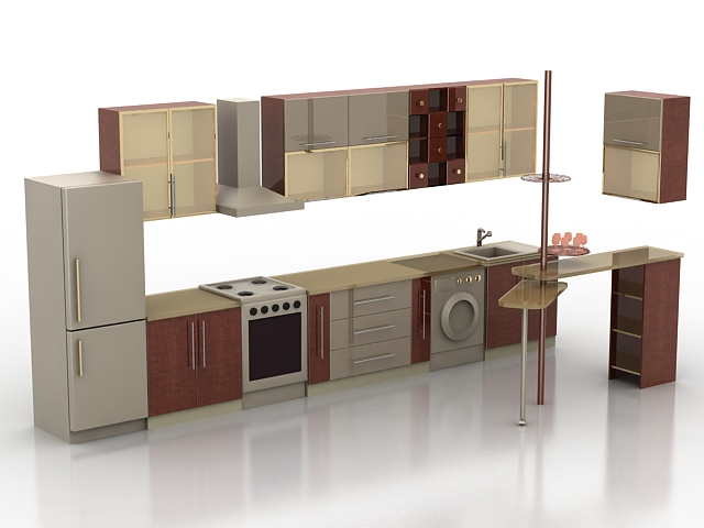 Single wall kitchen with counter 3d model 3ds max files - Kitchen design 3d model free download ...