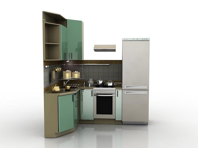 Small corner kitchen 3d model