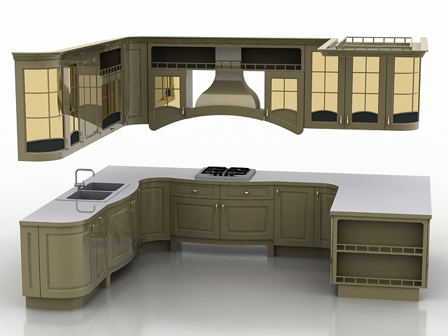 U shaped kitchen design 3d model 3ds max files free for Kitchen cabinets models