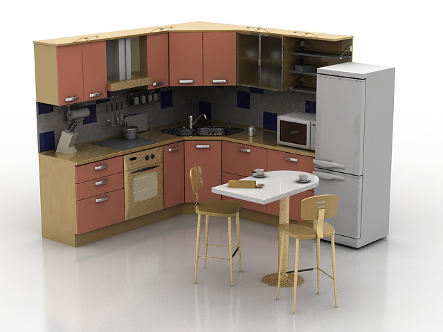 Small Corner Kitchen With Dinner Set 3d Model 3ds Max Files Free