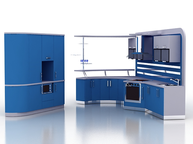 Modern Kitchen 3d Model modern blue kitchen cabinets 3d model 3ds max files free download
