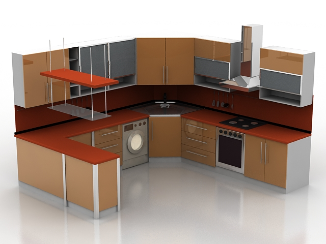 U shaped kitchen with counter 3d model 3d studio3ds max for Kitchen furniture 3ds max free