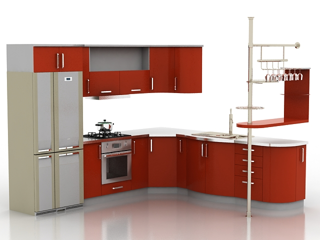 Corner red kitchen cabinets 3d model 3d studio 3ds max for Kitchen cabinets models