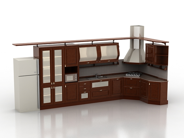 Simple kitchen designs 3d model 3d studio3ds max files for Kitchen furniture 3ds max free