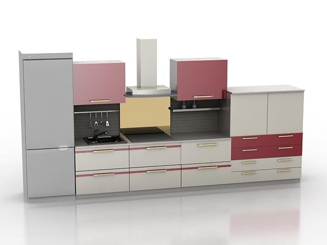 modern single file kitchen design 3d model
