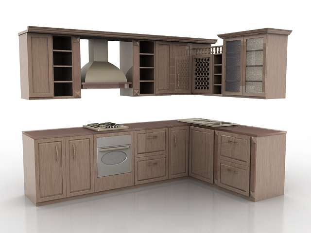 Other 3D Models. L Kitchen Cabinets Design ...