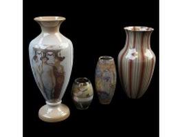 Vintage pottery vase sets 3d model