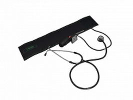Sphygmomanometer with stethoscope 3d preview