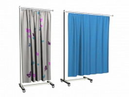 Movable hospital curtains 3d model