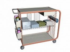 Hospital ward utility cart 3d model