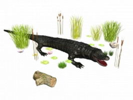 Crocodile attacks 3d model