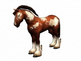 Brown and white horse 3d model