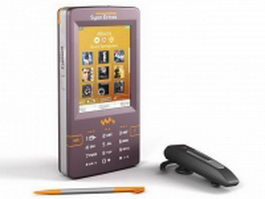 Sony Ericsson phone with bluetooth headset 3d model