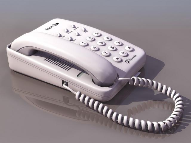 Corded White Telephone 3d Model 3d Studio Files Free