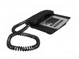 Black corded telephone 3d model