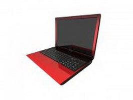 Red laptop 3d model