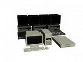 Video editing workstation computer set 3d model