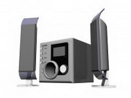 Desktop computer speakers with subwoofer 3d model
