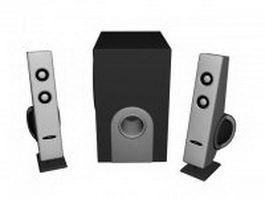 Set of desk speakers 3d model