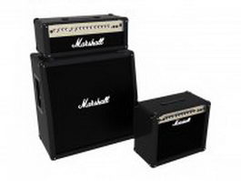 Marshall guitar amplifier and speakers 3d model