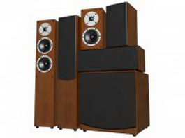 5.1-Channel surround sound system 3d model