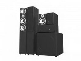 5.1 Professional audio speaker system 3d model