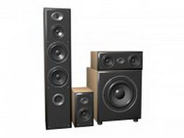 3.1 channel surround sound speaker system 3d model