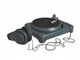 Vintage turntable with headphone 3d model