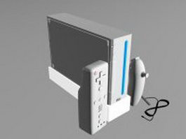 Wii console with Wii remote 3d model