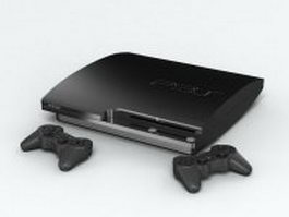 Black PlayStation 3 console 3d model
