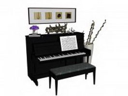 Upright piano room 3d model