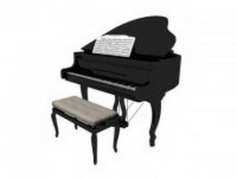 Grand piano with bench and music score 3d model