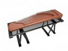 guzheng on the stand 3d model