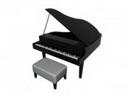 Low poly grand piano 3d model