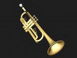 Modern B flat trumpet 3d model
