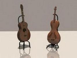 Bass guitar and classical guitar 3d model
