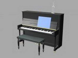 Upright piano and bench 3d model