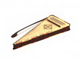 Ancient European zither psaltery 3d model
